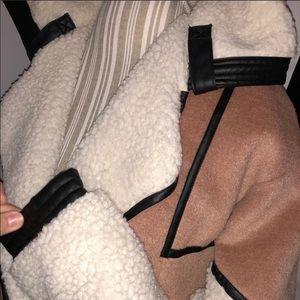 Rehab Multi color wool vegan leather jacket